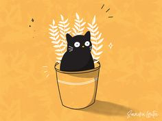 Potted cat and plant designed by Sandra Mondain. Connect with them on Dribbble; Plant Illustration, Cute Illustration, Animes Wallpapers, Cute Wallpapers, Cat Plants, Plant Drawing, Guache, Crazy Cats, Cat Art