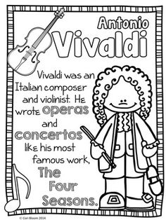 Baroque Composers Coloring and Fact Sheets by Cori Bloom Baroque Composers, Music Composers, Piano Lessons, Lessons For Kids, Elementary Music Lessons, Music Activities, Music Games, Teaching Music, Teaching Resources