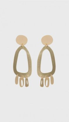 Brass Odd Oval Fringe Earrings by Modern Weaving
