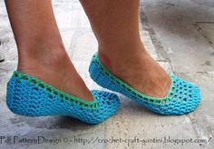 BLUE FILET NETTING Home Shoes - Crochet Pattern - Instant Download