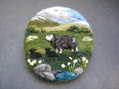 Hand Made Needle Felted Brooch  The Herdwick Ewe and her Twins  by T. Dunn