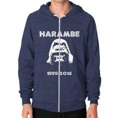 Rip Harambe Zip Hoodie (on man) Shirt