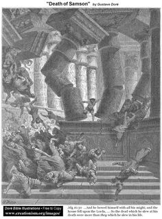 Death of Samson   by Gustave Dore
