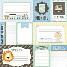5 Months Old Journal Cards. Baby Boy Digital by ScrapbookCustoms1