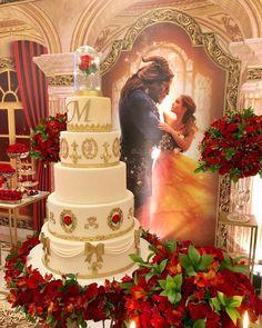 Beauty And The Beast Wedding Cake, Beauty And Beast Birthday, Beauty And The Beast Theme, 15th Birthday, Happy Birthday Cookie, Themed Wedding Cakes, Themed Cakes, Quince Cakes, Quinceanera Decorations