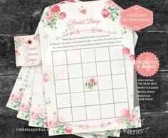 Bridal Tea Games Pink Vintage Floral. Download Today - Bridal Tea - Kitchen Tea - Bridal Shower Tea - Wedding Tea. Printable.