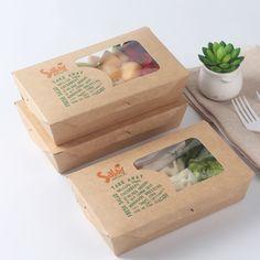 Desechables para alimentos impreso caja de papel kraft para la Ensalada/Sopa/Fideos