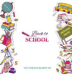 Back to school background vector by woodhouse84 on VectorStock®