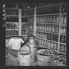 "Cool 1939 photograph.Original photo caption reads:""Interior of Mrs. Botner's storage cellar.800 quarts of ""food for the winter.""'I miss my chickens so,but we're just not fixed for chickens or hogs yet.'Nyssa Heights, Malheur County, Oregon."" 