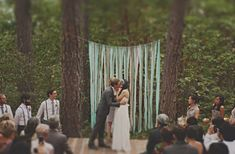 Use crepe paper ribbons to make this backdrop.