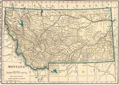 Vintage 1923 Montana Us Map 1923 Original Print Neat Collectible Atlas Map Wall Art Gallery Print Fw49