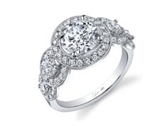 Sylvie Collection SY878 Engagement Ring with Certified 1.04ct Round Brilliant Center Diamond