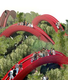 Garden of Bridges by West 8 Created fot the international horticultural expo in Xian, China Places Around The World, Oh The Places You'll Go, Places To Travel, Around The Worlds, Beautiful World, Beautiful Places, Love Bridge, China Travel, Covered Bridges