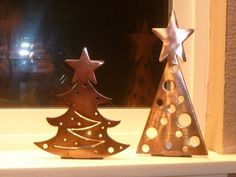 Personalized metal art by Michelle's Shop - metal Christmas tree tea light candle holders