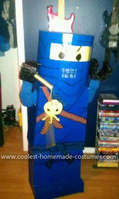 Homemade Lego Ninjago Costume: This year my son wanted to be the blue Lego Ninjago for Halloween. And he wanted to look like a real Lego. So I decided to attempt to make this Homemade