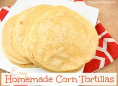 HAPPY MAY! I can't believe how fast April went! Cinco de Mayo is a few days away so I have another yummy recipe to share with you: homemade corn tortillas! They are so simple and taste much better than the store bought kind. Mexican Dishes, Mexican Food Recipes, Corn Tortilla Recipes, Tortilla Chips, Cornmeal Recipes, Tortilla Shells, Homemade Corn Tortillas, Homemade Tacos, Tortilla Wraps