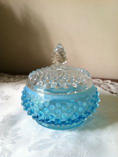 Fenton Blue Opalescent Hobnail Powder Jar
