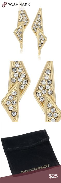 rebecca minkoff // triangle crystal stud earrings NWT Rebecca Minkoff gold-plated triangle pave crystal stud earrings. Perfect size to wear every day! Comes with RM bag. Rebecca Minkoff Jewelry Earrings