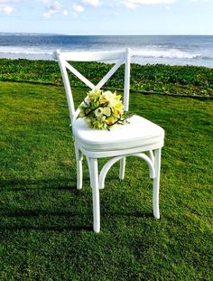 Our cross back white chair, the perfect wedding chair. #Bali #RevelRevelBali #furniture #rental