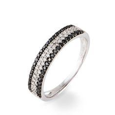 Bague Or Et Diamants Histoire d'or Bague Or Blanc Diamants Blancs et noirs