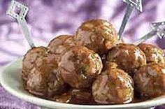 Apricot preserves and BBQ sauce give these meatballs a unique flavor. They creat… Apricot preserves and BBQ sauce give these meatballs a unique flavor. They create a tangy twist on the typical sauce made with grape jelly. Kraft Recipes, Free Recipes, Easy Recipes, Albondigas, Meatball Recipes, Beef Dishes, Ground Beef Recipes, Appetizer Recipes, Dinner Recipes