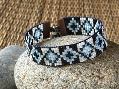 Black and blue men's beaded bracelet (or Unisex) with adjustable cord closure (#1585)