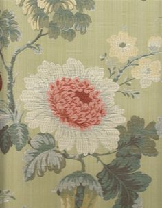 ~ Scalamandre - Perrault Silk Lampas Floral Brocade in Sage Green