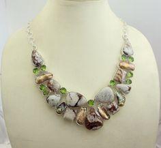 free shipping  f-61 stunning forest jasper - biwa - peridot  .925 silver handmade necklace jewelery by SILVERHUT on Etsy