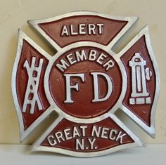 Fireman Maltese Cross Fire Dept Plaque by WallflowerAntiques, $25.00
