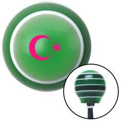 Pink Symbol of Islam Green Stripe Shift Knob with M16 x 15 Insert