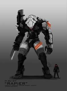 """UPDATE: This design is commissioned todisel91.deviantart.com/ he now owns exclusive rights to use the design however he wishes. M-AU 07 """"RAPIER"""" Personnel Armor Concept // 7 hrs // G74-..."""