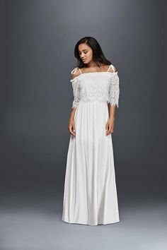 This off-the-shoulder maxi dress from David's Bridal has a vintage wedding dress feel that's bohemian and carefree.