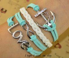 Love infinite charm bracelet anchor bracelet by itypeicool on Etsy, $4.99
