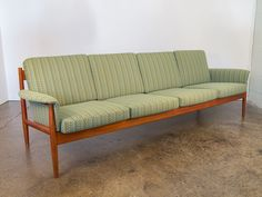 1960s Grete Jalk Teak Scalloped Sofa with Knoll Roam Limelight Upholstery