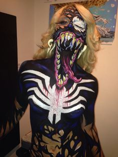 Venom body paint Ashley Simone Kimberly bucki Halloween face paint