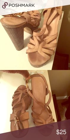 Brown and gray open toe wedges Brown and gray open toe wedges. Fairly worn, still in great conditions. Buyer responsible for shipping cost. Jessica Simpson Shoes Heels