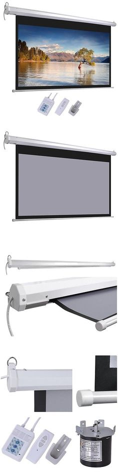 Projection Screens and Material: 100 16:9 Grey Material Foldable Electric Motorized Projector Screen + Remote Hd -> BUY IT NOW ONLY: $69.9 on eBay!