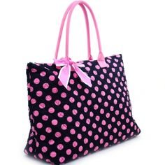 Large Quilted Polka Dot Tote with Ribbon Accents