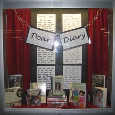 Dear Diary library display. Love the concept/theme.