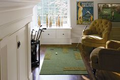 turn your living room into a mini-putt? kate, do we really need to discuss something so awesome? we do need rugs in the living room. Contemporary Area Rugs, Modern Rugs, E Design, Interior Design, Design Ideas, Golf Room, Novelty Rugs, Carpet Squares, Man Room