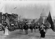 Women suffragists at the head of the Women's Suffrage Parade, marching down Pennsylvania Avenue in Washington DC with the U. Capitol in background, on March Victor Hugo, American Women, American History, American Life, Native American, Shanghai, Women Right To Vote, 19th Amendment, Suffrage Movement