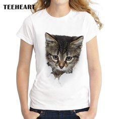 Women's Funny Tee - 3D Cat