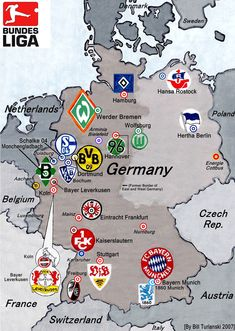 Location of the leading clubs in Germany.
