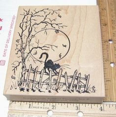 KITTY CAT SPOOKY SCENE ON RICKETY FENCE FULL MOON BY NORTHWOODS RUBBER STAMP #Northwoods #woodmountedrubberstamp