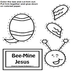 Bee Mine Jesus Cutout Craft for Kids in Sunday school or children's church for Valentine's Day. Bee Cutout crafts.