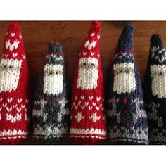 Inspired by magical scenes of Christmas in the snow in Scandinavia, these Santas are knit on straight needles in stockinette stitch in one piece and then seamed. Two patterns included - one for Santa bundled up in a heart pattern suit and the other for Sa Knit Christmas Ornaments, Christmas Crafts, Santa Christmas, Christmas Morning, Christmas Knitting Patterns, Crochet Patterns, Love Knitting, Fingering Yarn, Paintbox Yarn