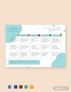 Instantly Download Free Daycare Menu Template, Sample & Example in Microsoft Word (DOC), Adobe Photoshop (PSD), Adobe InDesign (INDD & IDML), Apple Pages, Microsoft Publisher, Adobe Illustrator (AI) Format. Available in (US) 8.5x11 inches + Bleed. Quickly Customize. Easily Editable & Printable. Kids Lunch For School, Healthy Lunches For Kids, Healthy Toddler Meals, Kid Lunches, Kid Snacks, Lunch Snacks, Toddler Food, Menu Template Word, Templates Printable Free