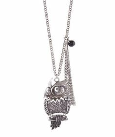 This Antique Silver Owl Fringe Pendant Necklace is perfect! #zulilyfinds