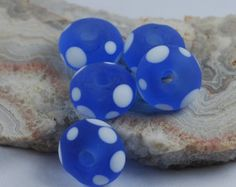 Handmade Lampwork Glass Bead Set - Etched blue and white dots