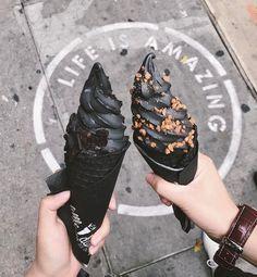 Black rose soft serve  // Little Damage Ice cream in Los Angeles, CA